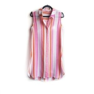 Two by Vince Camuto Button Up Bold Stripe Tunic